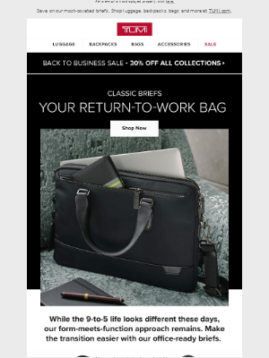 TUMI - Get Back to Business with 30% Off