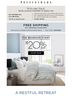 Pottery Barn Kids - The Bedroom Event starts NOW!