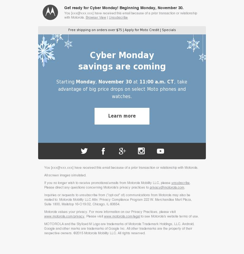 Get ready for Cyber Monday! Beginning Monday, November 30. You [xxx@xxx.xxx