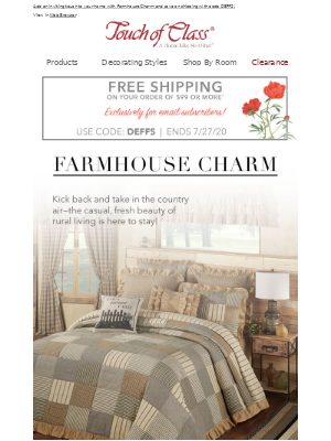 A Free Shipping Offer Just For You + Farmhouse Charm is still trending!