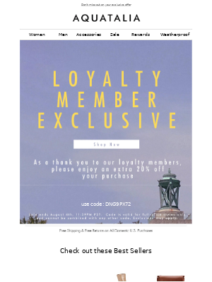 FINAL HOURS   Loyalty Members Take 20% off