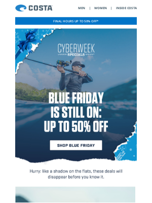 Costa Sunglasses - BLUE FRIDAY ENDS SOON | Up to 50% off