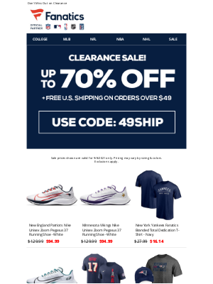 NFLshop - Hurry! Up to 70% Off Clearance Ends Tonight!