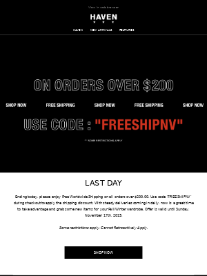 LAST DAY: Free Worldwide Shipping