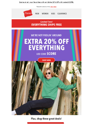Hanes - Hello Fall, Hello 20% Off Everything and Free Shipping!