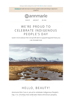Annmarie Gianni Skin Care - Happy Indigenous People's Day