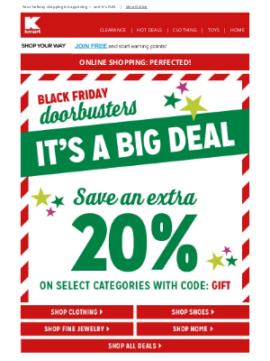 Kmart - You're great: Let's 🤖 play 🧸 Black Friday Doorbusters!