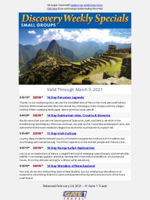 Gate 1 Travel - Weekly Specials | Discovery Small Groups