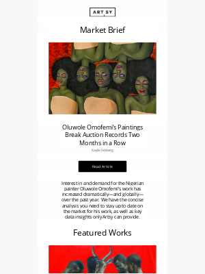 Artsy - Market Brief: Oluwole Omofemi's Paintings Break Auction Records Two Months in a Row