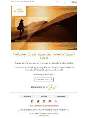 Etihad Airways - Important - activate your membership in just two steps