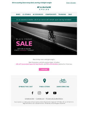 Evans Cycles (UK) - Black Friday deals | Start midnight tonight