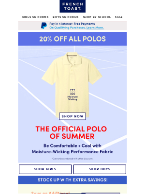 Frenchtoast School Uniforms - It's Easy to See Why Kids Love Our Polos   Last Day to Save 20%