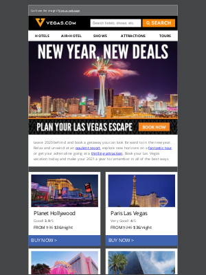 Vegas - New Year Hotel Deals Starting at $19/night