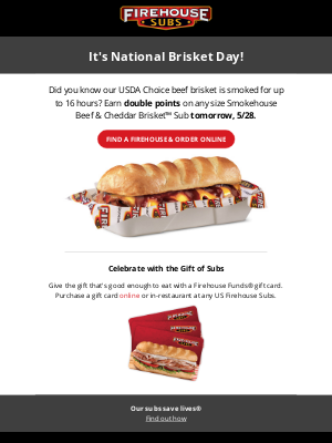 Firehouse Subs - Celebrate National Brisket Day with Firehouse Subs!