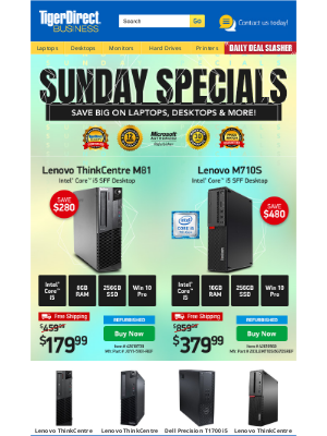 TigerDirect - It's Your Lucky Day! $599 Dell 7th Gen i7 15.6