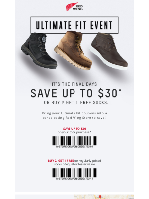 Red Wing Shoes - Last Chance to Redeem $30 Off Red Wing Boots