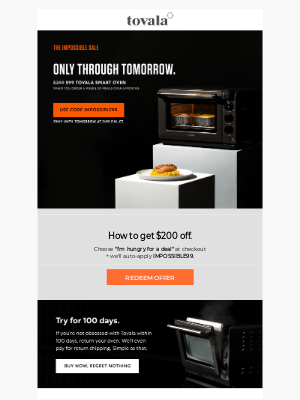 Tovala - Tomorrow is your last day to get $200 off.