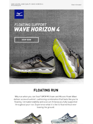 Mizuno Running - New Colors! Float Without Leaving the Ground with Wave Horizon 4 + Free Shipping $75+