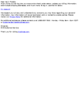 DVS Shoe Company - Confirmation of Customer Registration