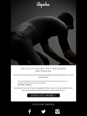 Rapha - Introducing Shadow: innovative wet-weather racewear