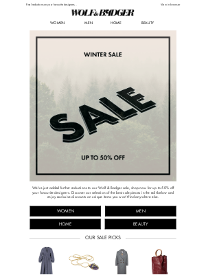 Further Reductions | The Wolf & Badger sale just got even better