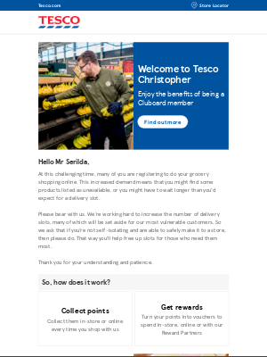 Welcome to Tesco: we've got some amazing rewards lined up for you