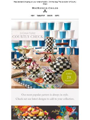 MacKenzie Childs LLC - New styles! Courtly Check + 2X points