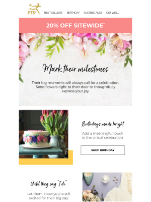 Mark Their Milestones With 20% Off Sitewide