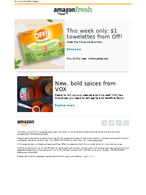 Amazon Prime - This week only: $1 towelettes from Off!
