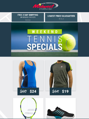 Midwest Sports - Weekend Specials + Everything You Need For Junior Tennis Players + Save Up To 50% Off Bags
