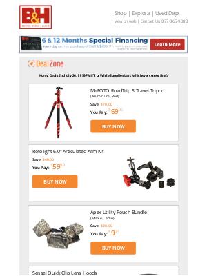 B&H Photo Video - Today's Deals: MeFOTO Travel Tripod, Rotolight Articulated Arm Kit, Apex Utility Pouch Bundle, Sensei Quick Clip Lens Hoods & More