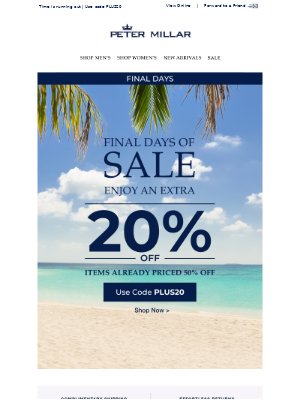 Final Days: Save An Extra 20% On Sale Items
