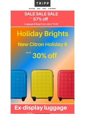 Tripp (UK) - New Holiday Bright's plus suitcases from only £31.45