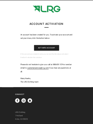 Lifted Research Group - LRG Customer account activation
