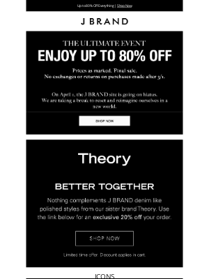 J BRAND - Up to 80% Off Everything