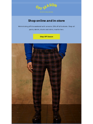 Scotch & Soda - Off Season outlet: Extra 20% off bottoms starts now