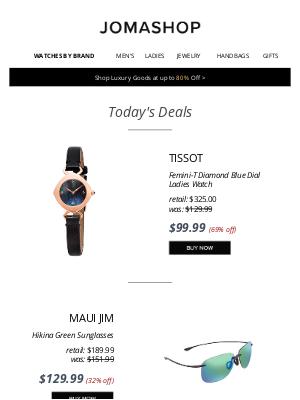 Jomashop - 🚀 TODAY ONLY: Sevenfriday Men's Auto $575 | Tissot Diamond Watch $100 | Maui Jim Sunglasses $130