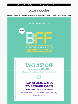 Take 25% off everything in this email