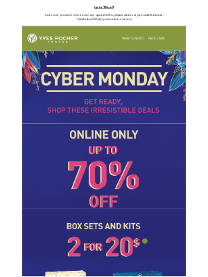 Yves Rocher - Cyber Monday sales starts Now!