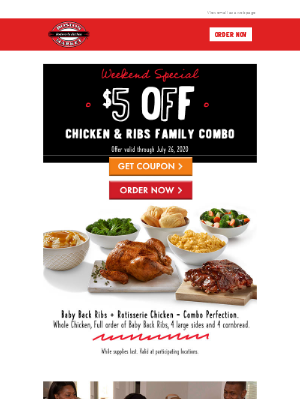 $5 Off Chicken & Ribs Family Meal