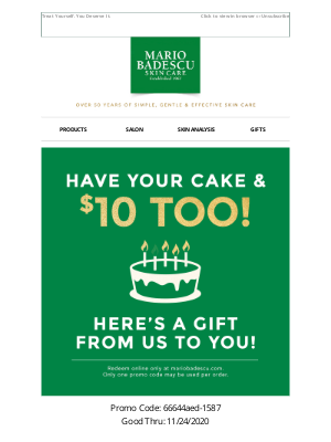 Mario Badescu Skin Care - One Week Left! Your $10 Gift Expires Soon!