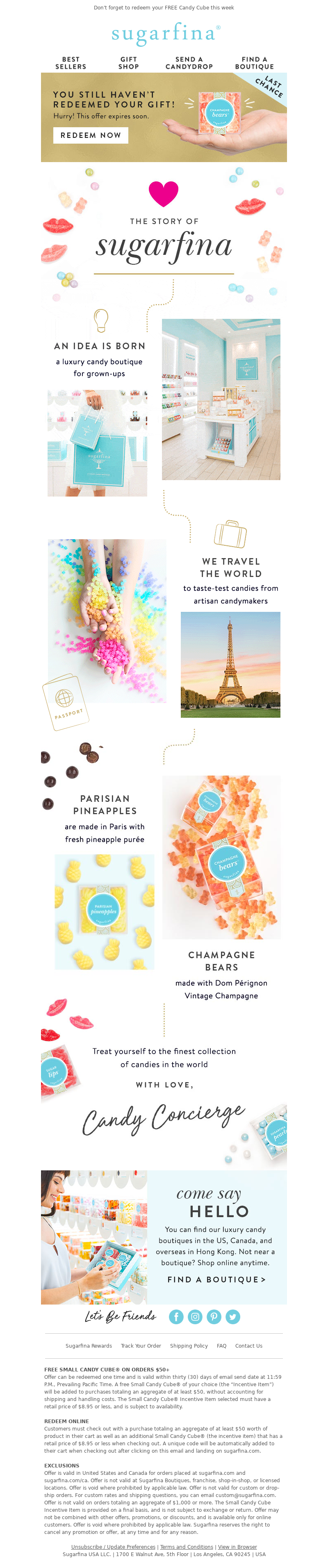 Don't forget to redeem your FREE Candy Cube this week Sugarfina Best Seller