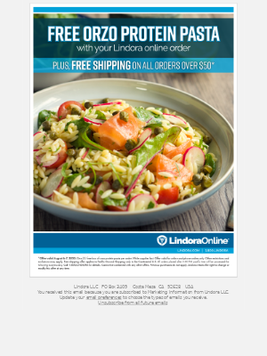 Free Ground Shipping on Orders over $50 and Free Box of Orzo Protein Pasta