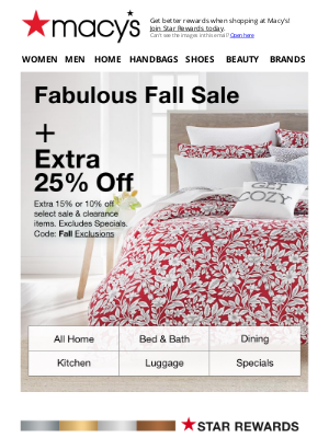 Macy's - Extra 10-25% off to help make your home a happy place