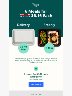 Freshly - No Need to Wait with 6 Meals Just $6.16 Each