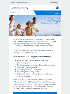 American Airlines - Welcome to a world of earning miles