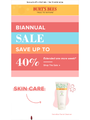 Extended: Our Biannual SALE! Save up to 40%