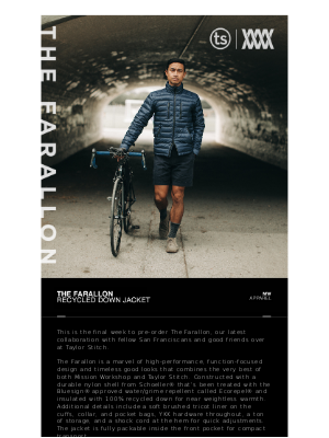 Mission Workshop - [Final Week] The Farallon — Recycled Down Jacket // MISSION WORKSHOP x TAYLOR STITCH
