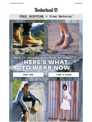 Timberland - Wear now. Wear back to campus.