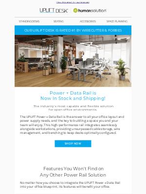 Uplift Desk - Power, Data, and Benching in One Elegant Solution